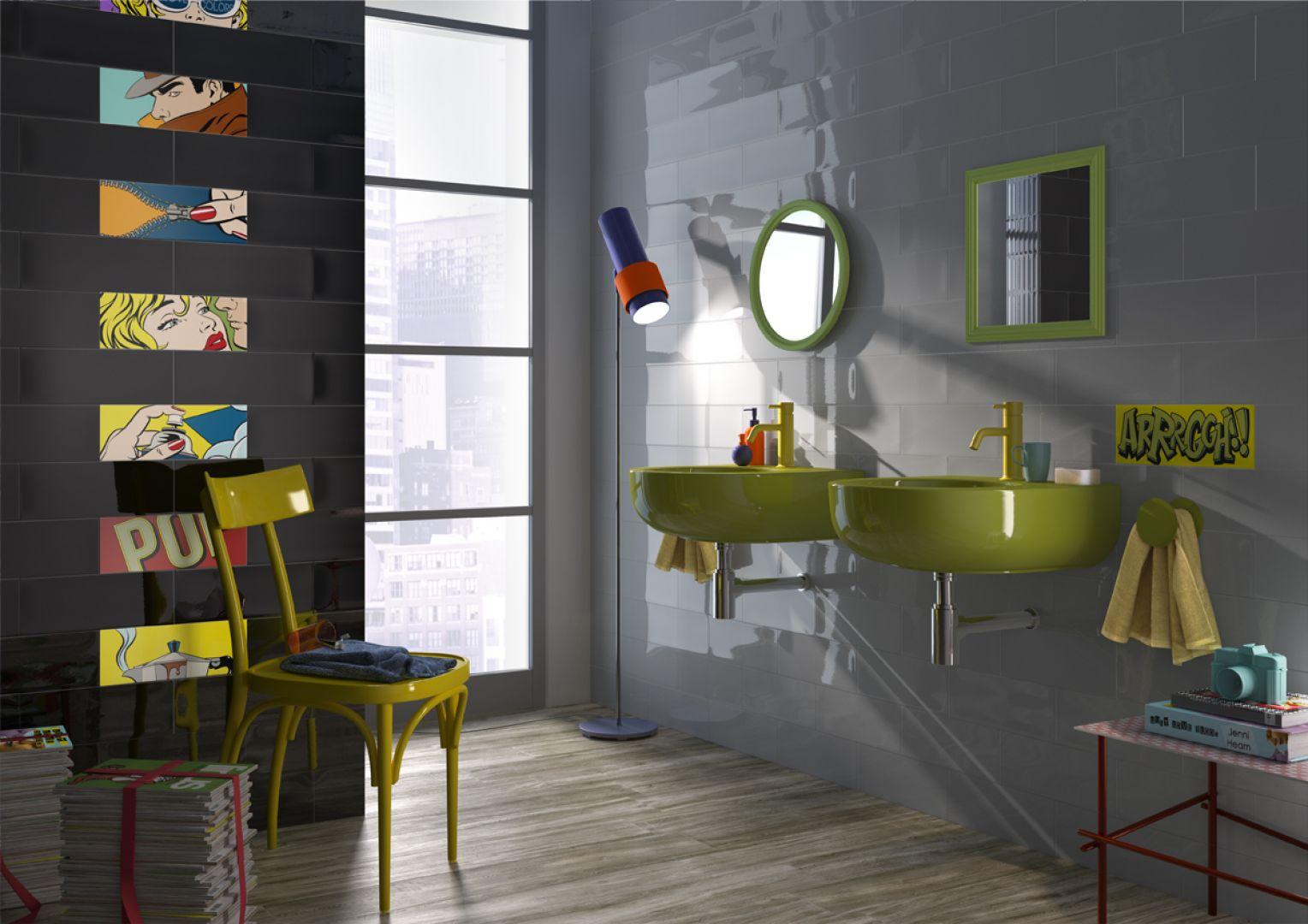 Płytki ceramiczne z kolekcji Pop marki Imola Ceramica mają komiksowy dekor. Fot. Imola Ceramica