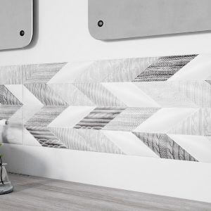 Ściana w strefie umywalki wykończona płytkami z kolekcji French Braid z fakturą 3D marki Opoczno. Fot. Opoczno