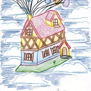 Praca nagrodzona w konkursie na rysunek wymarzonego domu. Autorka: Hania Sarnek