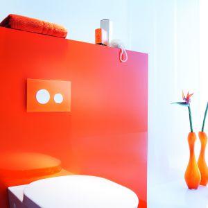 Kolorowy przycisk spłukujący TECEloop ożywi aranżację strefy WC. Fot. TECE