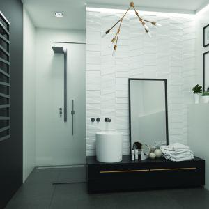 Aranżacja łazienki z płytkami z dekorem. Na zdjęciu płytki z kolekcji Tel Awiv. Fot. Ceramika Paradyż