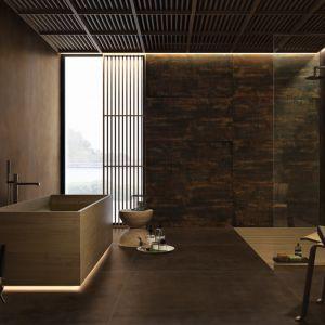 Płytki ceramiczne czy może cortenowska blacha - co wieńczy ścianę w tej łazience? To wielkoformatowe płyty z kolekcji Metamorfosi marki CEDIT. Fot. CEDIT