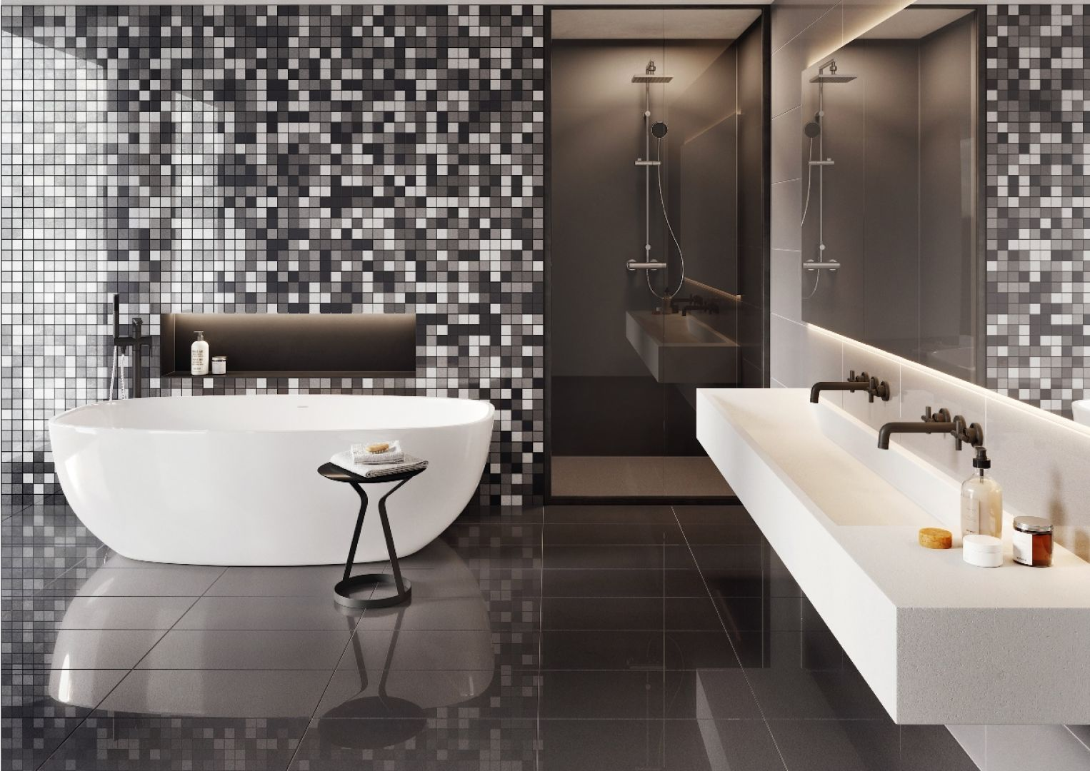 Czarno-biała łazienka z mozaiką z kolekcji Cambia. Fot. Cerrad