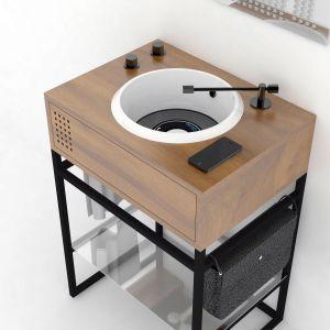 Konsola i umywalka Vinyl wyglądają niczym prawdziwa konsola muzyczna z gramofonem i płytami winylowymi. Proj. Gianluca Paludi. Fot. Olympia Ceramica