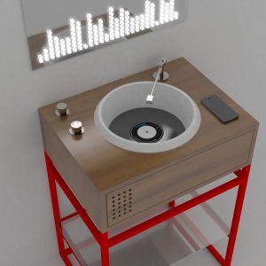 Przyciski regulujące wodę wyglądają jak pokrętła do zmiany nasilenia dźwięku. Proj. Gianluca Paludi. Fot. Olympia Ceramica