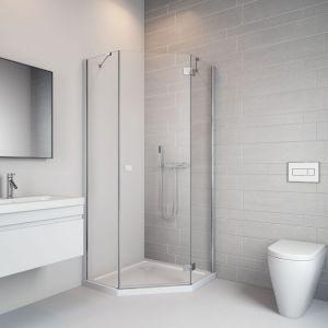 W małej łazience świetnie sprawdzi się pięciokątna kabina prysznicowa Essenza New PTJ. Fot. Radaway