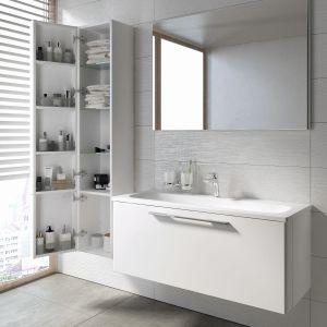 Słupek łazienkowy z serii Ring zapewnia podwójną ilość miejsca do przechowywania - zarówno wewnątrz szafki, jak i na wewnętrznej stronie drzwiczek. Fot. Ravak