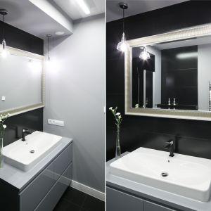 Czarno-biała łazienka. Proj. Agata Piltz. Fot. Bartosz Jarosz