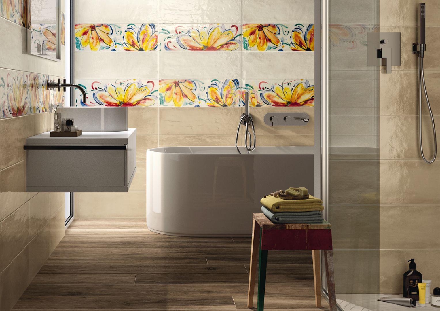 Płytki ceramiczne z kwiatowym motywem z serii Shades marki Imola Ceramica. Fot. Imola Ceramica