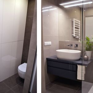 Szafka łazienkowa zapewnia utrzymanie porządku – jest pojemna, umożliwia więc ukrycie łazienkowych drobiazgów. Każda strefa pomieszczenia została dobrze doświetlona. Fot. Tworzywo Studio