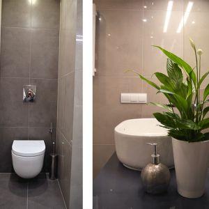 Najważniejszą decyzją, jaką podjęto na początku projektu było połączenie osobnych pomieszczeń łazienki i toalety w jedno. Fot. Tworzywo Studio
