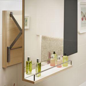 SMART – lustro z praktyczną półką na akcesoria łazienkowe i relingiem; z mechanizmem wysuwnym; wym. 50x65 cm. Fot. Cersanit