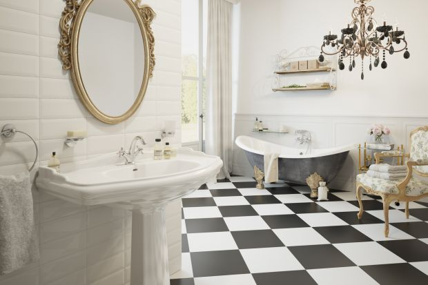 Jak urządzić łazienkę w stylu retro? Zobaczcie przykładową aranżację z kompletną armaturą.
