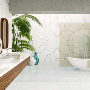 Aranżacja łazienki z konglomeratem kwarcowym imitującym marmur Calacatta, Crystal Calacatta Silva. Fot. Technistone