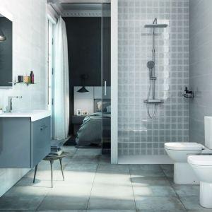 Płytki imitujące beton z kolekcji Arlette marki Roca Tiles idealnie wpisują się w wystrój łazienek w stylu industrialnym. Fot. Roca Tiles