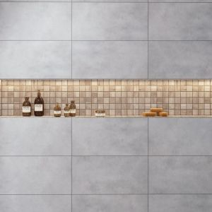 Mozaikę w łazience, np. z kolekcji Mattina beige możemy wykorzystać jako dekoracyjny detal, np. w postaci prysznicowej półki. Fot. Cerrad