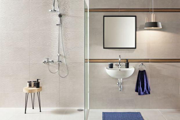 """Jeżeli chcemy naszej łazience dodać aranżacyjnego """"pazura"""". Płytki strukturalne zawsze będą dobrym pomysłem."""