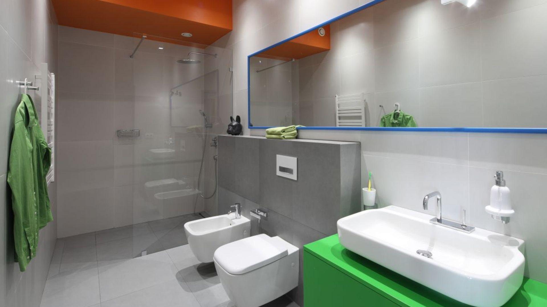 Strefa prysznica w narożniku. Proj. Konrad Grodziński. Fot. Bartosz Jarosz