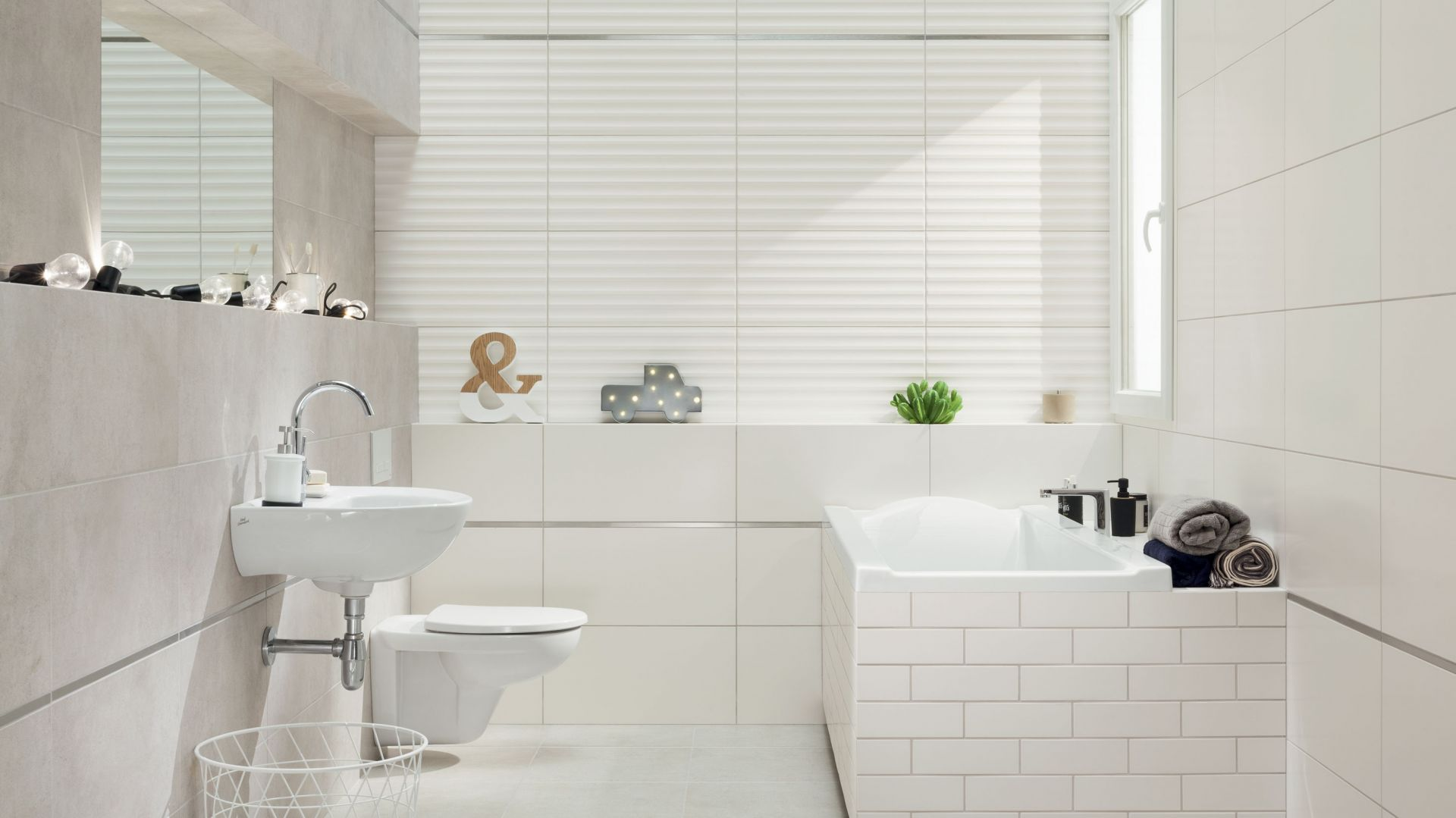 Aranżacja łazienki z płytkami z kolekcji Burano: styl klasyczny. Fot. Ceramika Domino