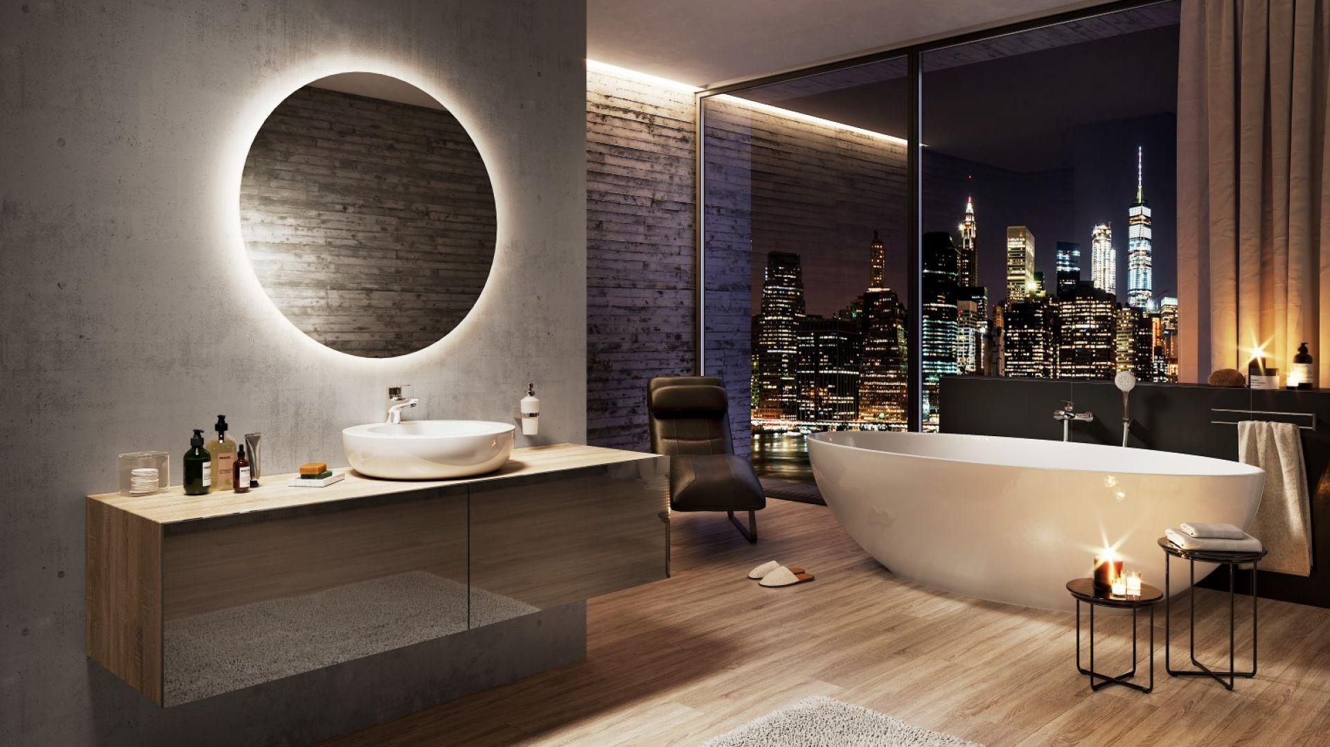Strefa umywalki urządzona w eleganckim klimacie. Na zdj. bateria umywalkowa stojąca Dijon. Fot. Ferro