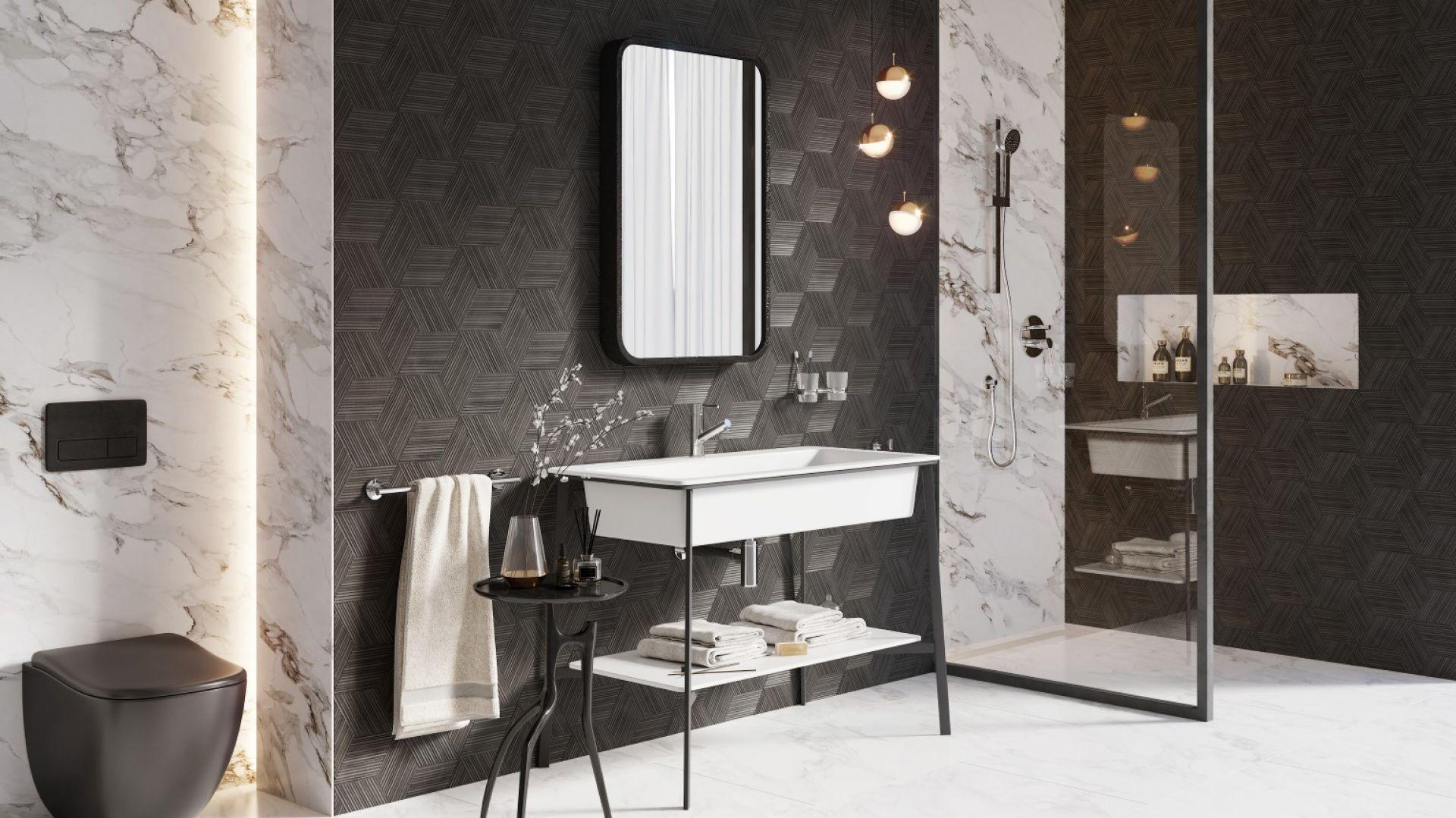 Strefa umywalki urządzona w duchu industrialnego minimalizmu. Na zdj. bateria umywalkowa stojąca Fiesta. Fot. Ferro