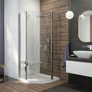 Propozycja do małej łazienki: półokrągła kabina prysznicowa Alpinia marki Deante. Fot. Deante