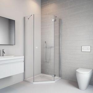Propozycja do małej łazienki: pięciokątna kabina prysznicowa Essenza New PTJ marki Radaway. Fot. Radaway