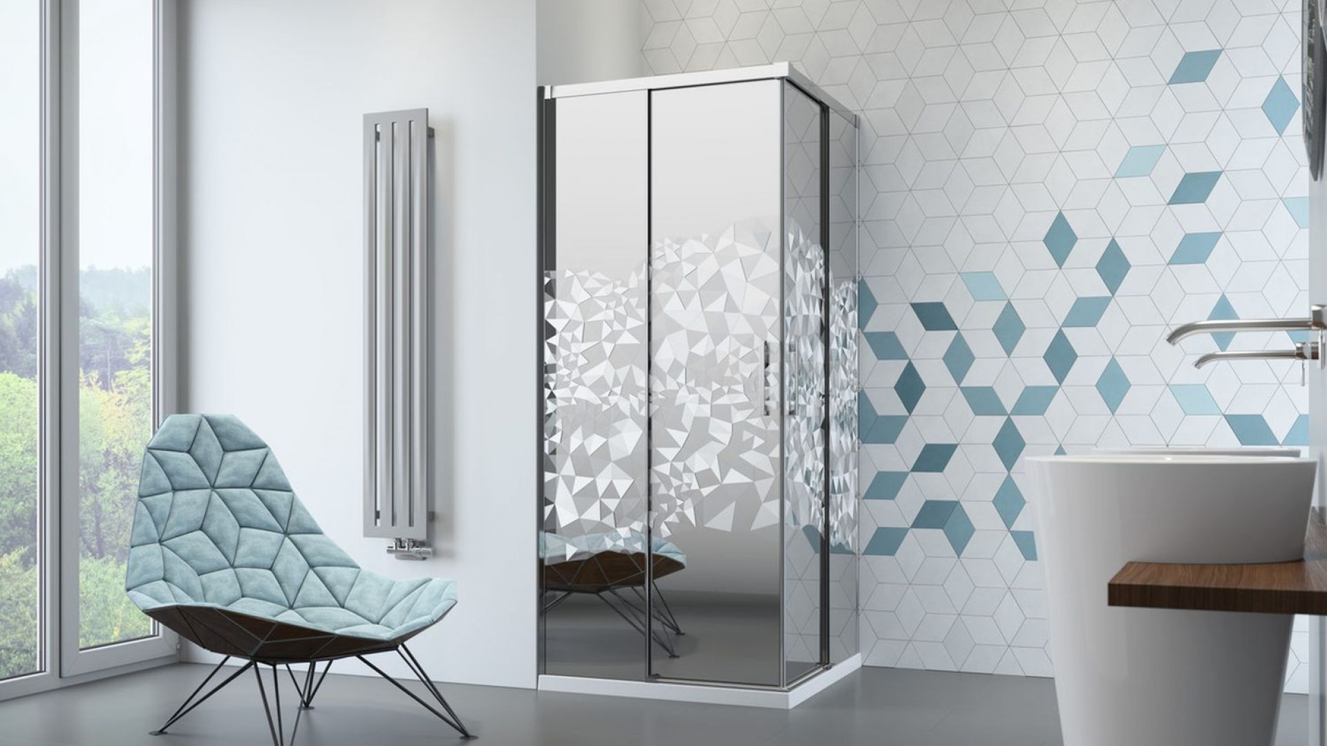 Kabina prysznicowa Idea KDD z grawerem laserowym Crystal marki Radaway. Fot. Radaway