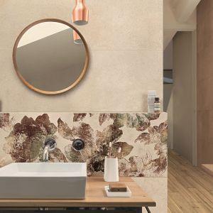 Ściana nad umywalką wykończona urokliwymi płytkami z kolekcji Cocciopesto marki Ragno. Fot. Ragno