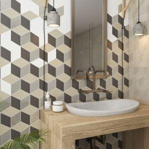 Ściana nad umywalką wykończona płytkami z geometrycznym motywem z kolekcji Rockstone marki Ceramika Paradyż. Fot. Ceramika Paradyż