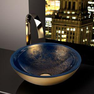 Nablatowa umywalka Ocean Blue Gold marki Glass Design. Fot. Glass Design