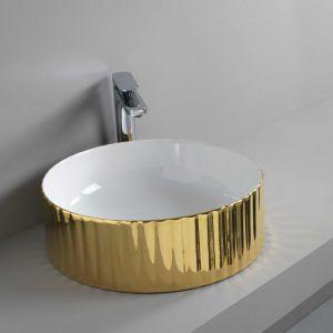 Nablatowa umywalka Millerighe w kolorze złotym marki Artceram. Fot. Artceram