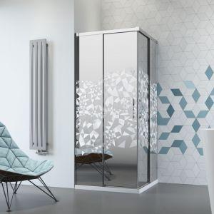 Modna kabina prysznicowa IDEA KDD z grawerem Crystal marki Radaway. Fot. Radaway