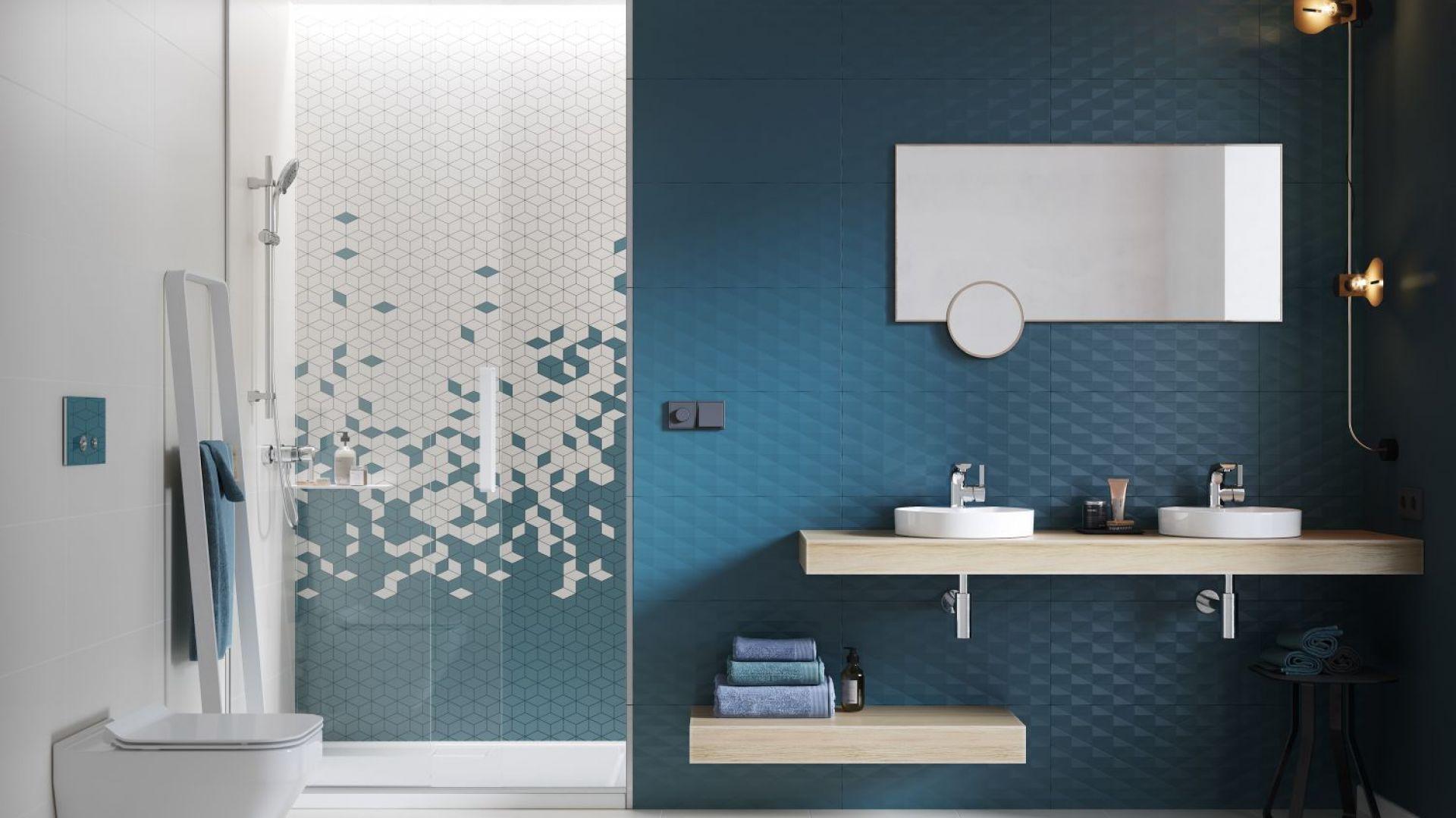 Trend łazienkowy: kolor w łazience; łączenie faktur i wzorów. Fot. Materiały prasowe Cersanit