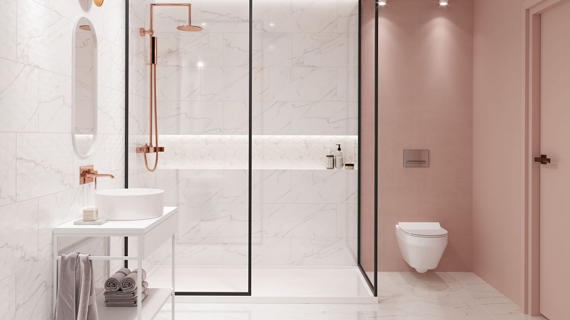 Trend łazienkowy: kolor w łazience; płytki inspirowane kamieniem. Fot. Materiały prasowe Cersanit