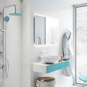 Zestaw prysznicowy z deszczownią Kameleon, kolor niebieski. Fot. Invena