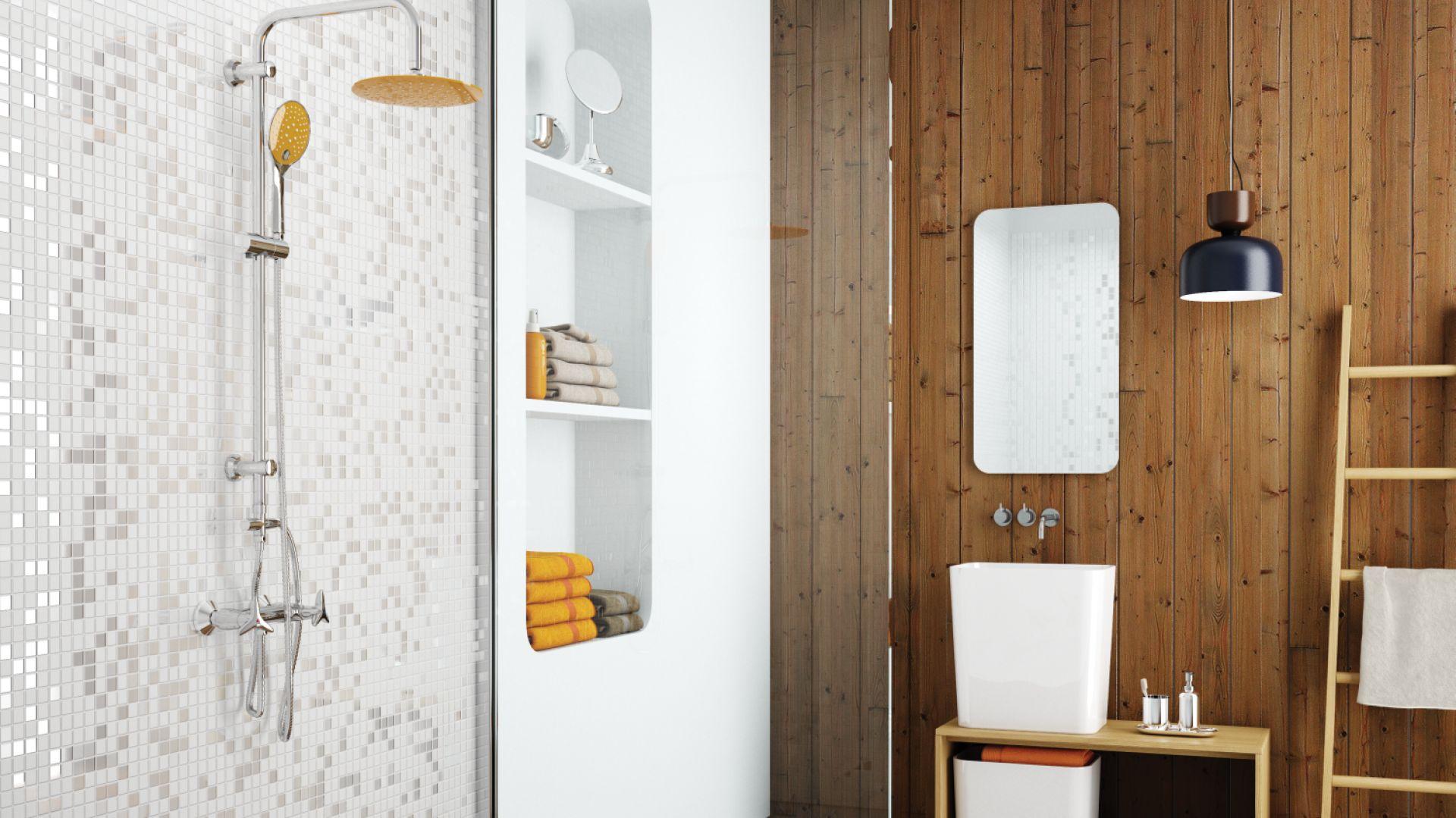 Zestaw prysznicowy z deszczownią Kameleon, kolor żółty. Fot. Invena
