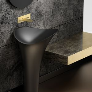 Do efektownej strefy umywalki: umywalka Flower Evolution Nero marki Glass Design. Fot. Glass Design