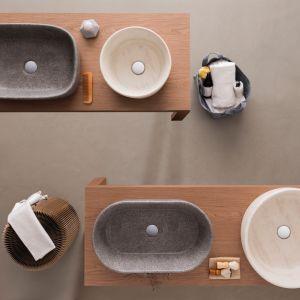 Nowe wykończenia umywalek marki Ceramica Globo, Le Pietre Travertino oraz Peperino Grigio. Fot. Ceramica Globo