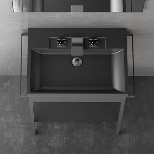 Czarna umywalka z serii Italy 03 marki Glass Design. Fot. Glass Design