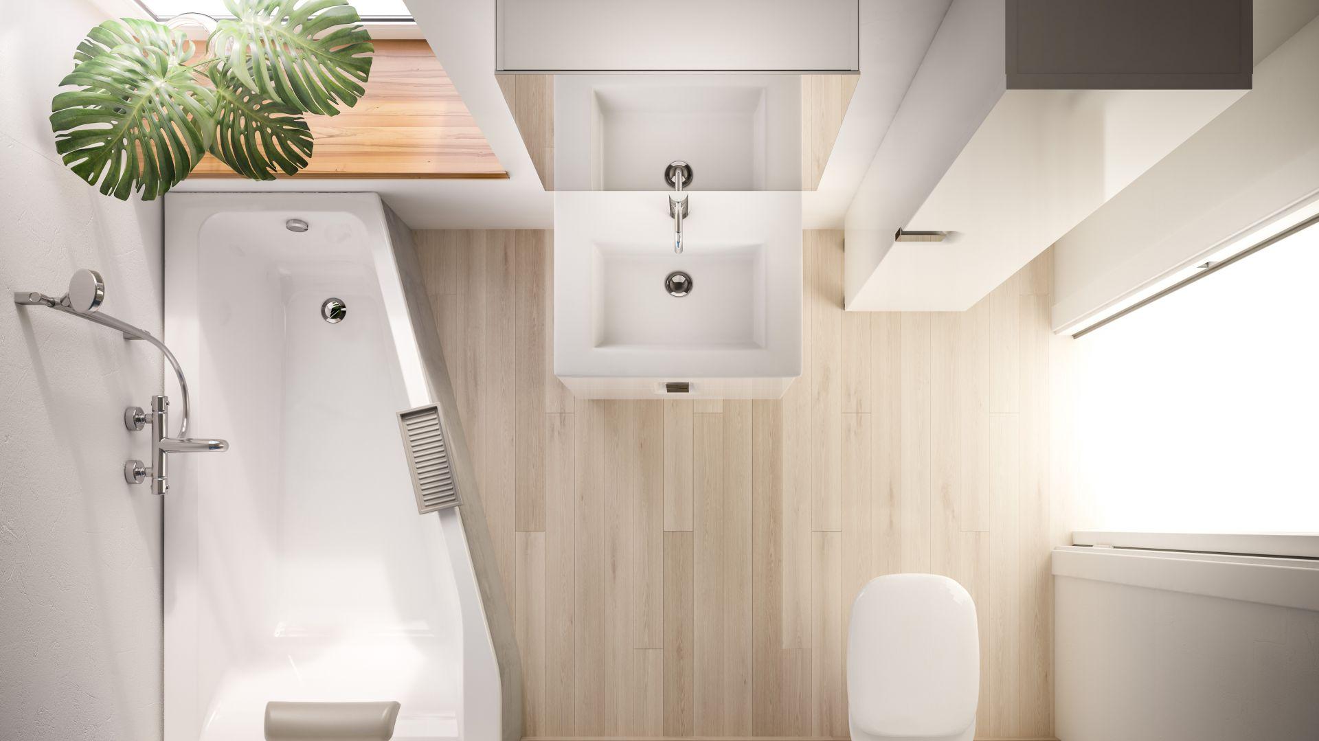 Asymetryczna wanna Sava marki Koło sprawdzi się idealnie w małych łazienkach. Fot. Sava