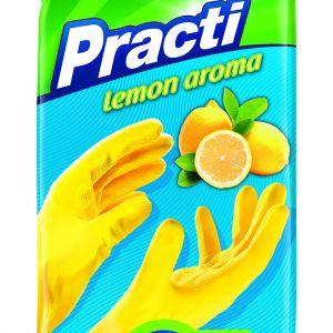 Rękawice gumowe zapachowe - Practi lemon aroma. Cena: ok. 3 zł