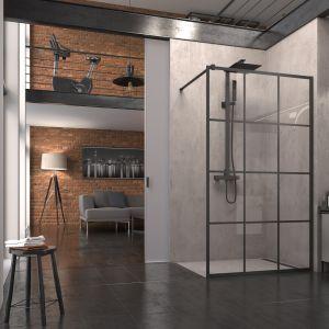 Czarna kabina prysznicowa typu walk-in ze szprosami z serii Black Line marki SanSwiss. Fot. SanSwiss