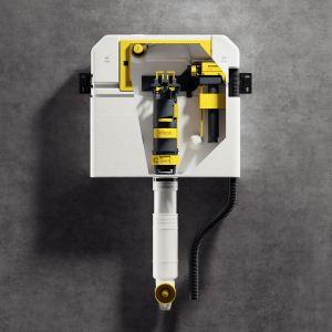 Na przykładzie spłuczki Prevista wyraźnie widać koncepcję ułatwienia fachowcom montażu poprzez funkcjonalną kolorystykę zastosowaną w nowym systemie. Wszystkie elementy ruchome i montowane ręcznie, są wkolorze żółtym. Fot. Viega