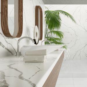 Aranżacja salonu kąpielowego z konglomeratem kwarcytowym TechniStone® Callacatta. Fot. TechniStone