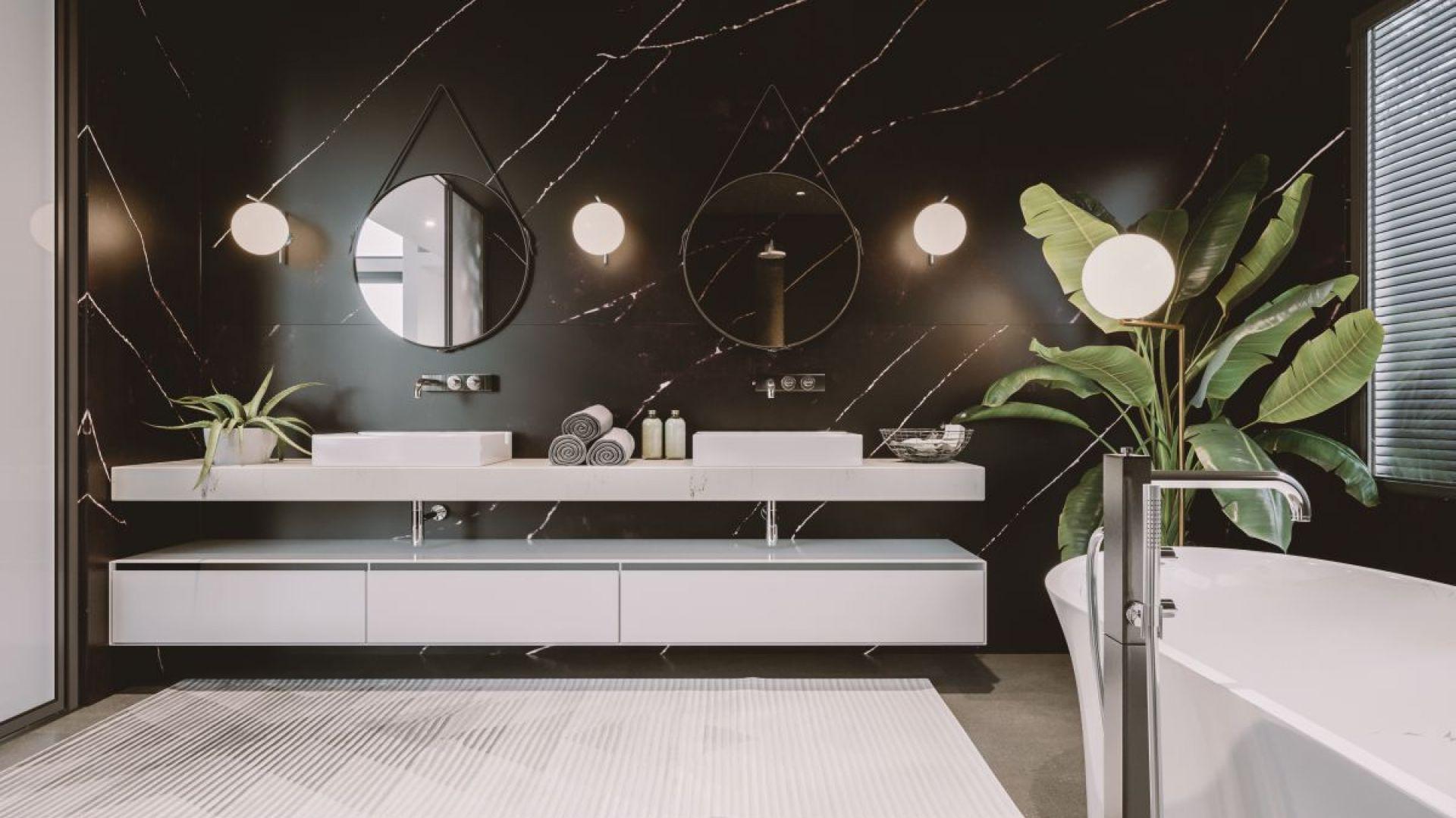 Aranżacja salonu kąpielowego z konglomeratem kwarcytowym  TechniStone® Poetic Black. Fot. Technistone