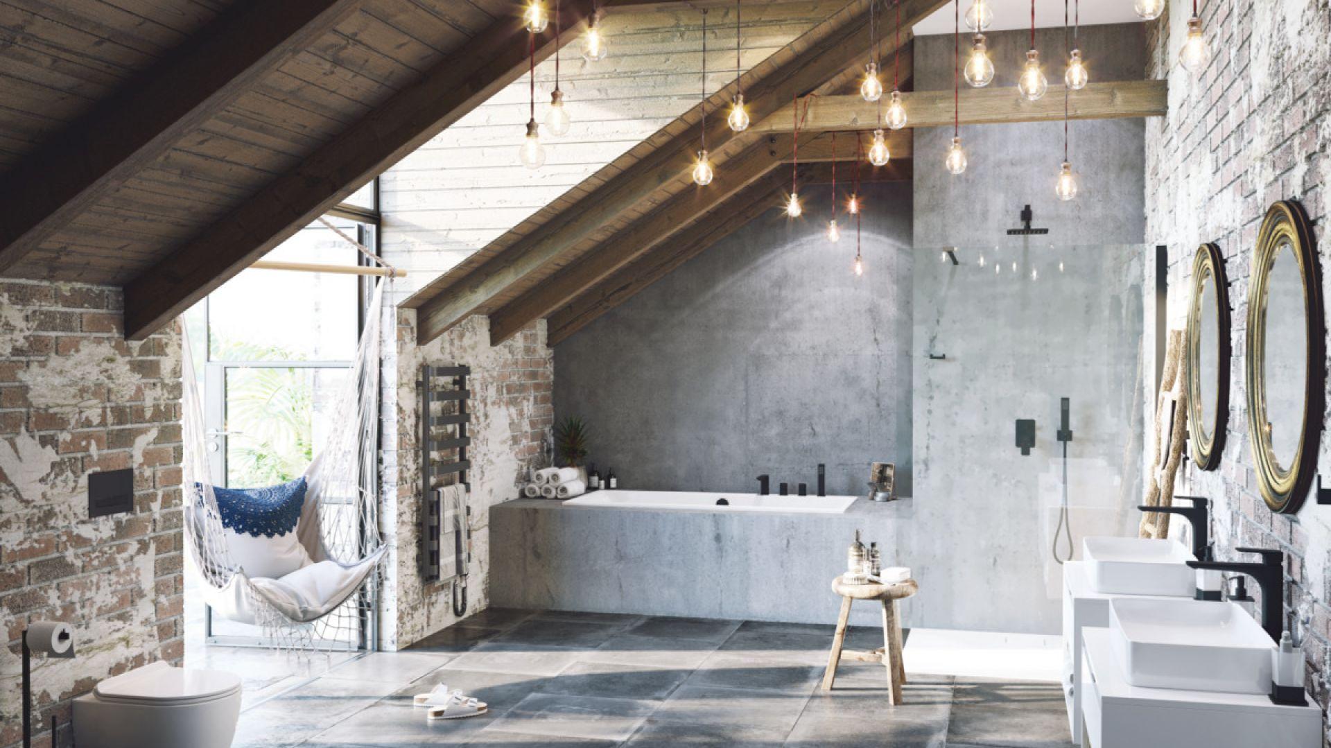 Aranżacja łazienki z czarnymi detalami w postaci baterii łazienkowych z serii Keria. Fot. Excellent