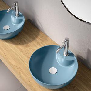 Błękitna umywalka z kolekcji Trend marki Olympia Ceramica. Fot. Olympia Ceramica