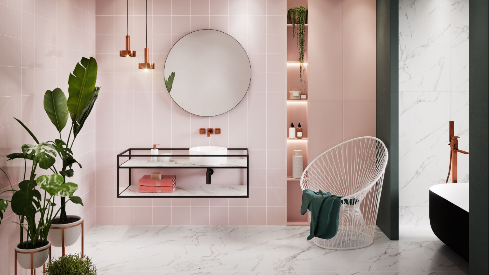 Różowe płytki ceramiczne z kolekcji Monoblock Pastel Pink marki Opoczno. Fot. Opoczno