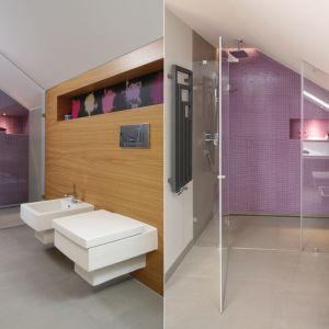 Pomysł na ścianę w strefie prysznica. Proj. Małgorzata Galewska. Fot. Bartosz Jarosz